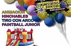 Fiestas de cumpleaños y celebraciones: Hinchable, paintball junior, tiro con arco...todo con monitor incluido